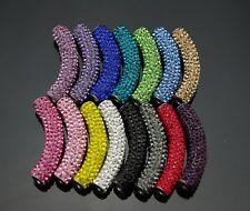 15 colors curve rhinestone pave tube connector pave bar 45mm bracelet beads