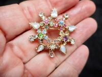 Authentic Vintage-Gold Tone 1950's Rhinestone Pastel Brooch/Pin