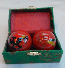 Enamel Chinese Baoding Balls - Dragon & Phoenix - Red - Boxed - New - 50mm