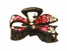 MiniE010 hot pink mini size hairstyling crystal embellished sequined jaw hair cl