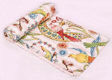 Hand Block Cotton Kantha Queen Bird Print Kantha Throw Indain Bedding Bedcover