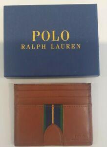 Polo Ralph Lauren Mens Brown Leather Cardholder Wallet Insert Brand New prep