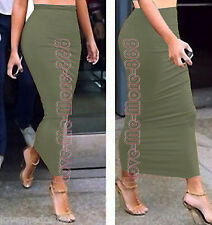 Basic Stretch Polyester Club Party Casual Slim Fit Bodycon Long Skirt Dress 2XL