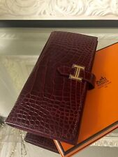 New Hermes H Bearn Polished Alligator Crocodile Bourgogne Long Wallet GHW *RARE*
