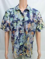 Rum Reggae Mens Hawaiian Shirt Coral Sand Dollars Size Large Multicolored SS