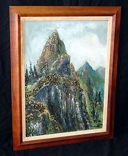 """1970s Hawaii Koa Framed Oil Painting """"Nuuanu Pali, Oahu"""" by B. Anderson (Kan)"""