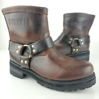 Durango Leather Biker Engineer Moto Harness Ankle Boots Brown DS194 sz 11E Wide