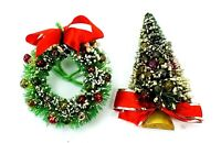 Antique Vintage CHRISTMAS HOLIDAY Glass Bulb WREATH & TREE Decorations SEASONAL