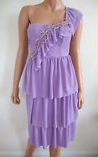 $345 New LEGATTE Lavender One-Shoulder TIERED Cocktail Dress S ITALY