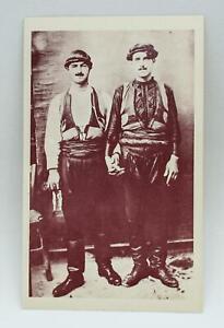 Vintage Greek Photo Postcard Cretan Man Couple Holding Hand Traditional Costume