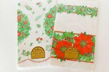 "2 Vintage Hallmark Tablecloths Christmas 44"" Paper Table Cloth Bridge Cover"