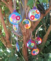8 FABULOUS HAND MADE FELT TREE DECORATIONS. 3 INCHES DIAMETER. WOW