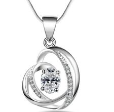 "Silver Love Heart Geometric Zirconia CZ Pendant Necklace 18"" Chain Gift Box I38"