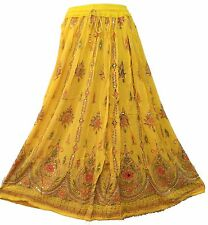 SANSKRITI LONG SKIRT BEADED PAINTED BOHEMIAN GYPSY MAXI ELASTIC SEQUINS Yellow