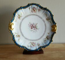 B & H Limoges France Hand Painted Porcelain Plate w/ Wall Mount Hardware
