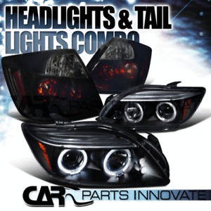 05-10 Scion tC Black Halo LED Projector Headlights+Glossy Black Smoke Tail Lamps