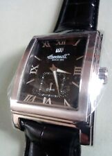 BNWOT INGERSOLL MENS KENSINGTON ALL STAINLESS  TONE BLACK LEATHER QUARTZ WATCH