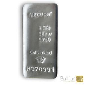 1 Kilo Silver Bar Metalor One Kilo Bar Pure 999 1Kg Silver Bar with Certificate