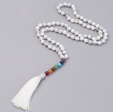 White Howlite Yoga Reiki Tassel Necklace with 7 Chakra Healing Gemstones Beaded