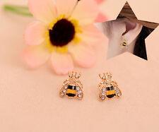 Vintage Bee Crystal Earring Animal Rhinestone Gold Ear Stud Women Jewelry Hot E