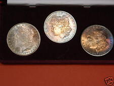 3-Coin Set of New Orleans Morgan Silver Dollars, Uncirculated Beautiful toning