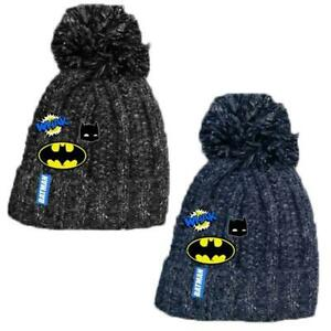 Kids Single Pom Batman Knitted Jersey Hat Childrens Licenced Beanie Cap