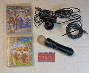 Play Station Move Bundle - Camera, Controller, USB cord and 2 Games TESTED