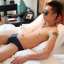 See Through Men Ice Silk Seamless Underwear Briefs Low Waist Transparent Magic
