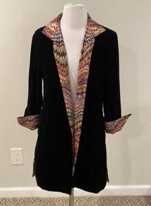 Grace Chuang New York Black Velvet Silk Open Jacket Size S