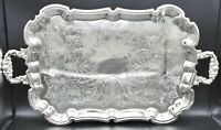 French Silver Plate Footed Tray With Ornate Scrolls and Engravings