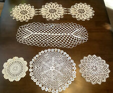 Vintage Stunning Doilies Antique Lace Crochet Table Linens Runners Lot