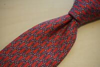 Hermes Red Silver Chainlink 100% Silk Mens Tie 7302 EA Made in France
