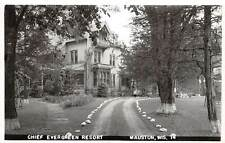 MAUSTON, WI ~ CHIEF EVERGREEN RESORT ~ REAL PHOTO PC ~ dated 1947