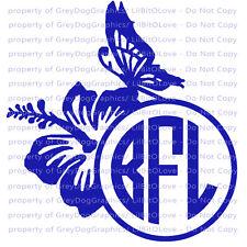 Custom Yeti Sized Hibiscus Butterfly Monogram Vinyl Decal Initials RTIC
