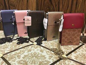 BN Coach Signature Dusty Pink,Stone Blue,Graphite,Platinum,Phone Crossbody!!