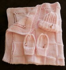 hand-knitted beautiful Bernet baby blanket and hat+mittens(pink)