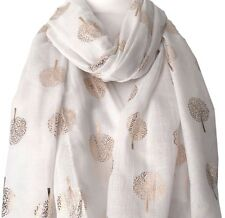 Cream Scarf Rose Gold Tone Mulberry Tree Style Large Ivory Foil Trees Shawl Wrap