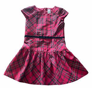 Gymboree Red Plaid Dress Holiday Christmas Girls 6 Drop Waist Cap Sleeve