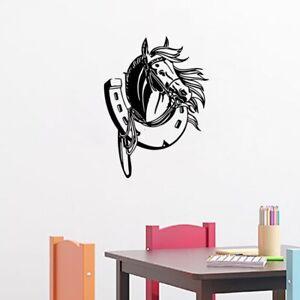 Horse Head Art Horseshoe Vinyl Decal Mural Home Bedroom Decor Wall Stickers