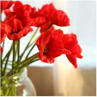10pcs Artificial Poppy Flower Red Bouquet PU/ latex Corn Poppies for Home Party
