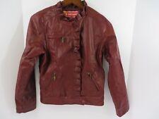 Dollhouse Bomber Jacket Zip Front & Pockets Ruffled Details Maroon XL 16  #7224