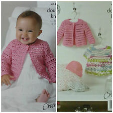 CROCHET PATTERN Baby Lacy Cardigan Dress & Hat Cherished DK King Cole 4416