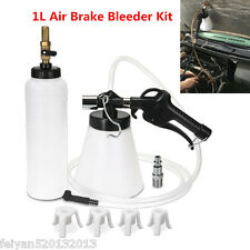 1L Air Brake Bleeder Kit Pneumatic Clutch Extractor Fluid Fill Bottle 4 Adapters