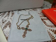 """3 INCH CROSS WITH GREEN STONE 24"""" CHAIN"""