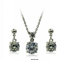 18K Gold GP made with SWAROVSKI Element Classic Earring Necklace Set Black