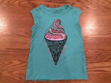 Girls Gap Kids Ice Cream Cone Blue Green Teal Pink Sleeveless Shirt XS 4 5