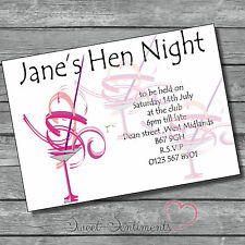 Pk 10 Personalised Hen Night / party  Invitations  Style 8 glossy