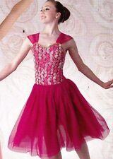 NEW Dance costume Lyrical Ballet Ribbon Rosette Bodice Dark Pink ch/ladies sizes
