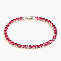 4MM Ultra Slim Women Fashion Jewelry Bracelets Charm Red Garnet Gems Hand Chains