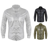 Mens Shiny Sequins Mesh Long Sleeve See through Top T-Shirts Clubwear Costume